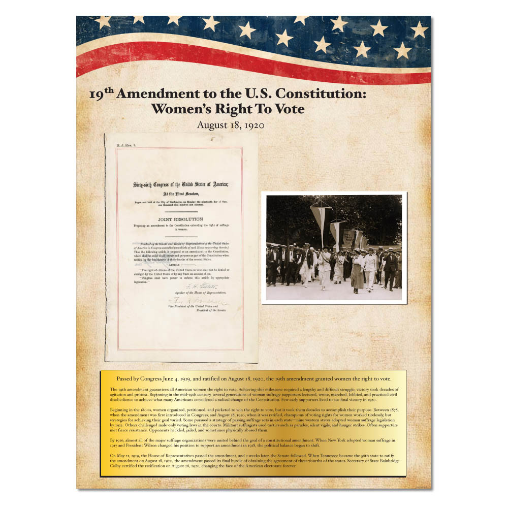 19th Ammendment Historical Vintage Document Wall Decor