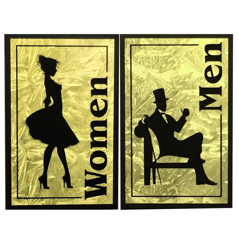 Vintage Restroom Sign - Faux Gold Leaf Men & Women