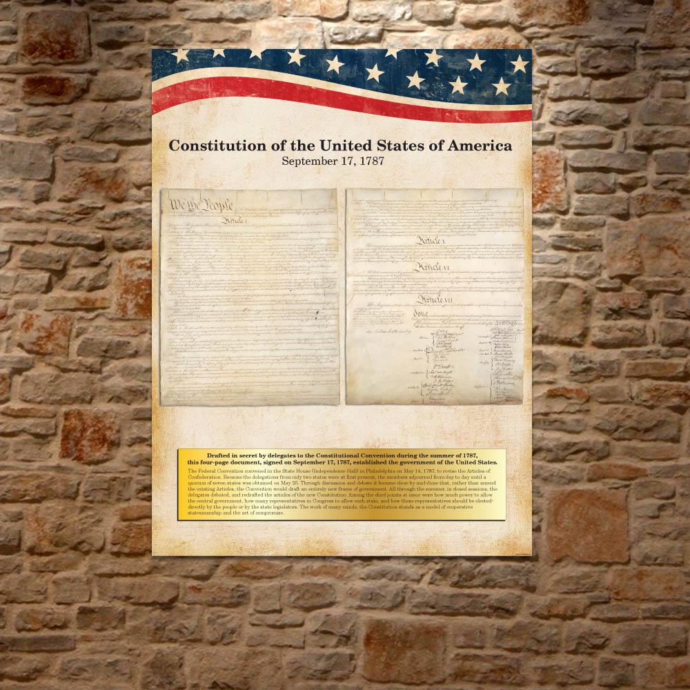 U S Constitution Historical Vintage Document Wall Decor