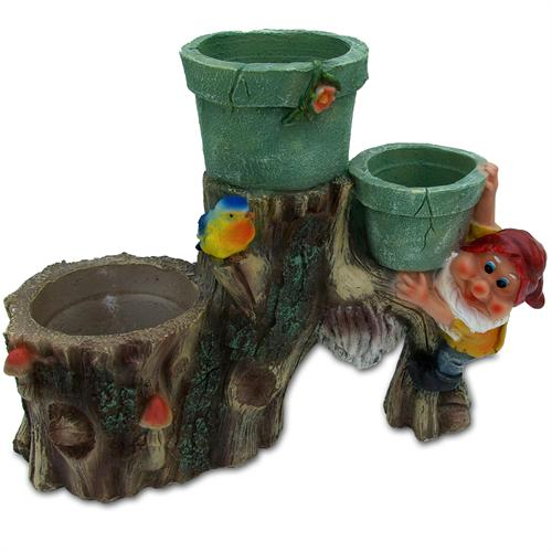 Front View  Sculpture of a gnome climbing up a tree trunk populated with clay flower pots mushrooms and a colorful bird. The