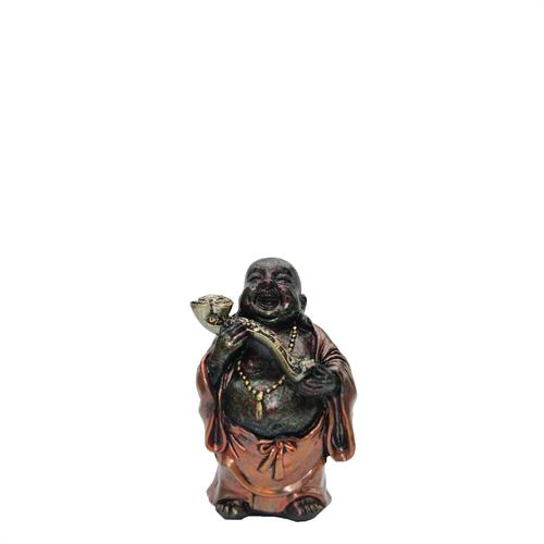 Laughing Buddha With Flowers Over Shoulder