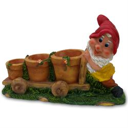 Wagon Gnome - 3 Flower Pots